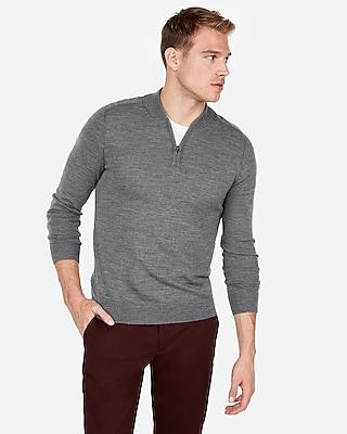 Express Mens Merino Wool Blend Thermal-Regulating Mock Neck Sweater Gray Men's M Gray M