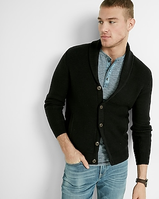 Express Mens Textured Shawl Collar Cardigan