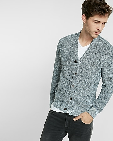high neck button-up cardigan