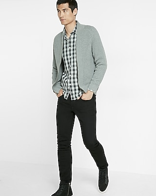 Express Mens Cotton Full Zip High Neck Cardigan