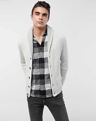 Express Mens Contrast Shawl Collar Cardigan