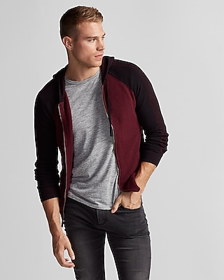 Express Mens Mixed Stitch Cotton Hooded Sweater