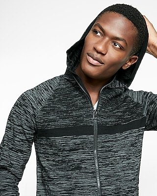 Express Mens Marled Zip Front Athletic Sweater Hoodie