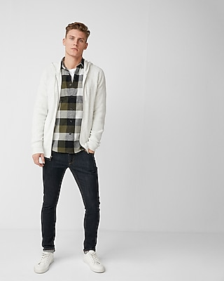 Express Mens Ribbed Full Zip Hooded Sweater