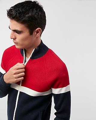 Express Mens Color Blocked Zip Sweater