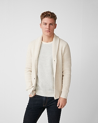 Express Mens Mix Knit Shawl Collar Cardigan
