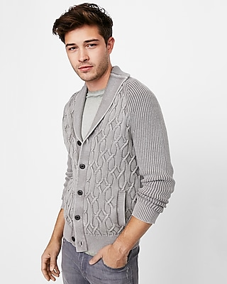 Express Mens Garment Dyed Shawl Cardigan