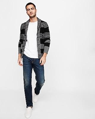 Express Mens Mix Stripe Shawl Collar Cardigan