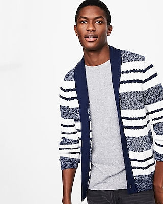 Express Mens Shawl Collar Striped Cardigan