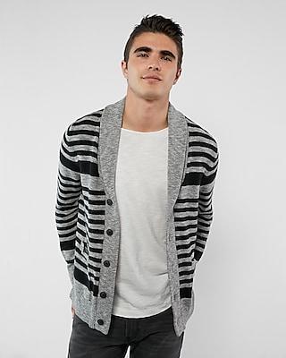 Express Mens Striped Shawl Collar Cardigan