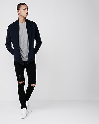 Express Mens Solid Zip Front Cardigan