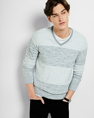 Express Mens Heather Gray Rugby Stripe V Neck Sweater