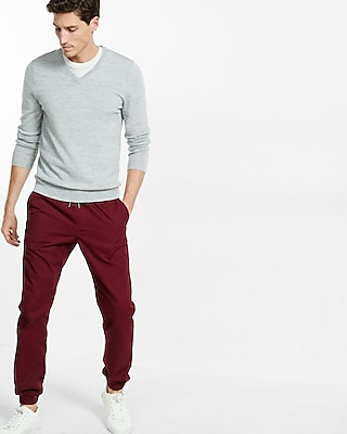 Express Mens Merino Wool V-Neck Sweater