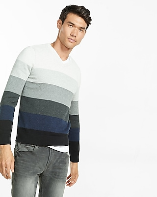 Express Mens Stripe V-Neck Sweater