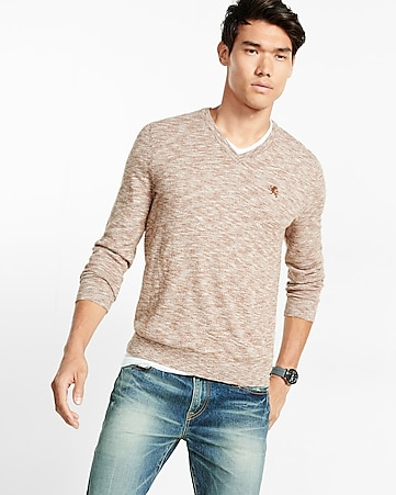 marled cotton v-neck sweater