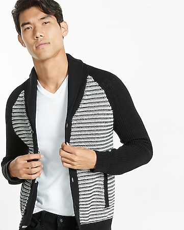 textured shawl collar cardigan