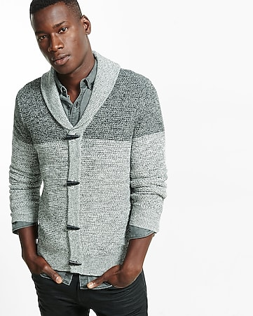 marled color block shawl collar cardigan
