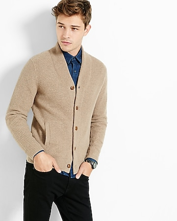 wool blend solid shawl collar cardigan