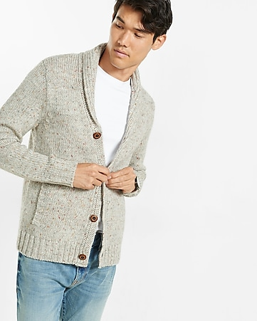 nep knit shawl collar cardigan