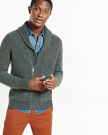 wool blend asymmetrical zip cardigan