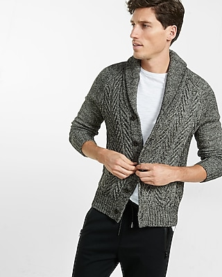 Express Mens Novelty Cable Cardigan