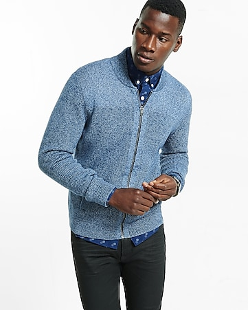 shaker knit fleece zip front cardigan