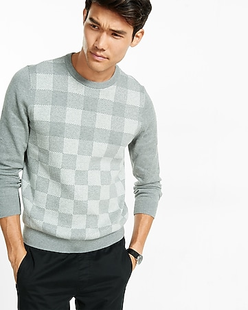 plaid pullover crew neck sweater
