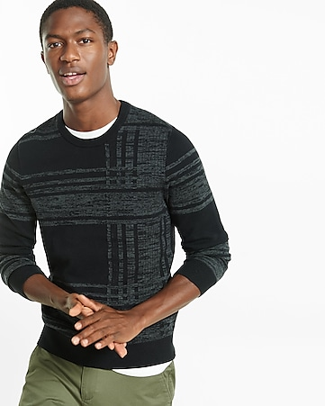 plaid jacquard crew neck sweater