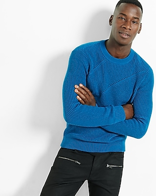 Express Mens Engineered Rib Crew Neck Sweater Blue Small 21339336