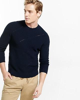 Express Mens Engineered Rib Crew Neck Sweater Black Small