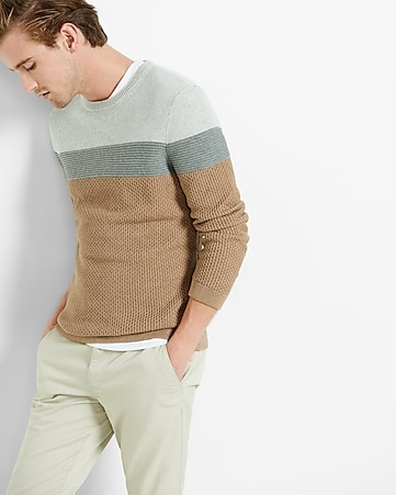 mixed texture color block crew neck sweater