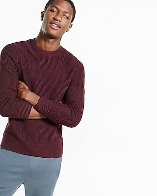 Express Mens Horizontal Shaker Knit Crew Neck Sweater Red Large 21337956
