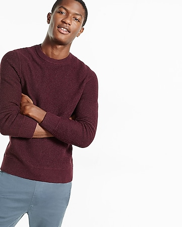 horizontal shaker knit crew neck sweater