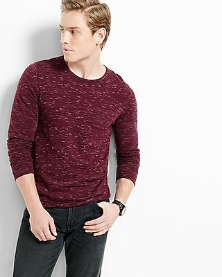 Express Mens Roll Crew Neck Space Dyed Sweater Red Medium