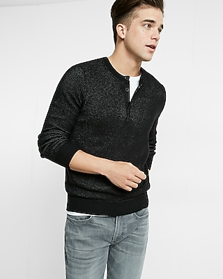 Express Mens Plaited Henley Sweater Black X Small