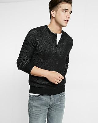 Express Mens Textured Henley Sweater
