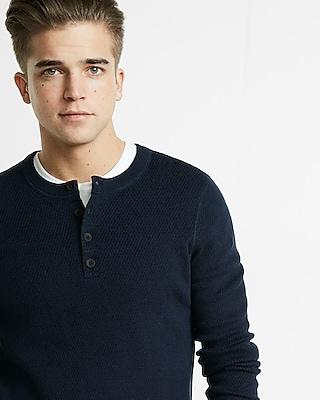 Express Mens Textured Henley Sweater Blue Small