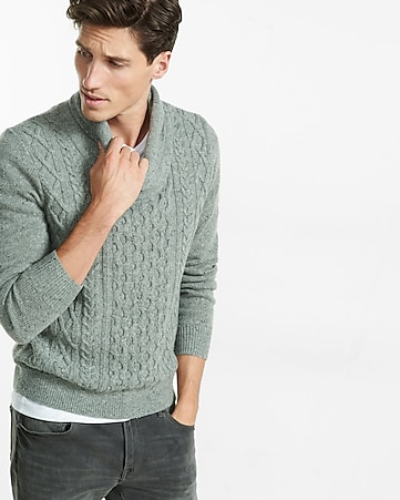 mix cable knit shawl collar popover
