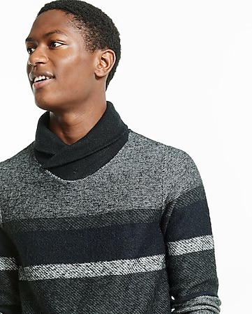 mixed stripe shawl neck sweater