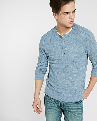 Express Mens Cotton Ribbed Henley Sweater