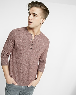 Express Mens Cotton Ribbed Henley Sweater Red X Small