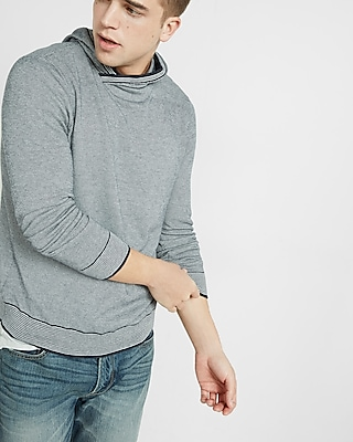 Express Mens Textured Hooded Pullover Sweater