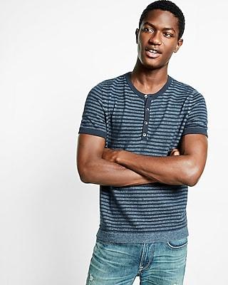 Express Mens Striped Short Sleeve Henley Sweater