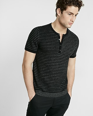 Express Mens Striped Short Sleeve Henley Sweater