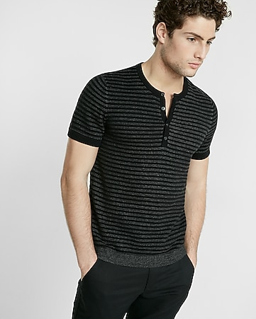 striped short sleeve henley sweater