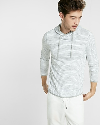 Express Mens Striped Crossover Hooded Sweater