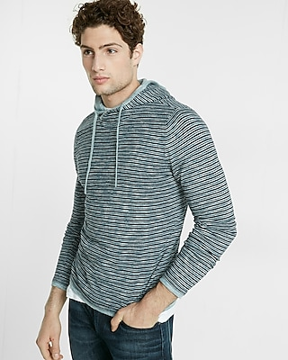 Express Mens Striped Crossover Hooded Sweater Blue X Small