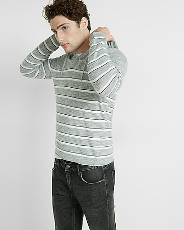 bar stripe v neck hooded sweater