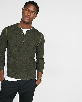 Express Mens Cotton Tuck Stitch Crew Neck Henley Sweater