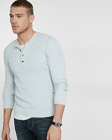 cotton tuck stitch crew neck henley sweater